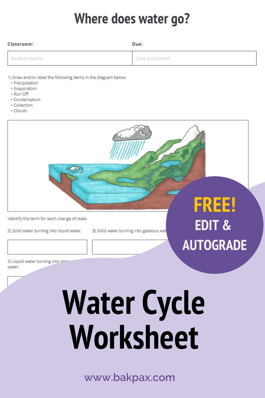 Free Water Cycle Earth Science Worksheet Science Worksheets Earth Science Science