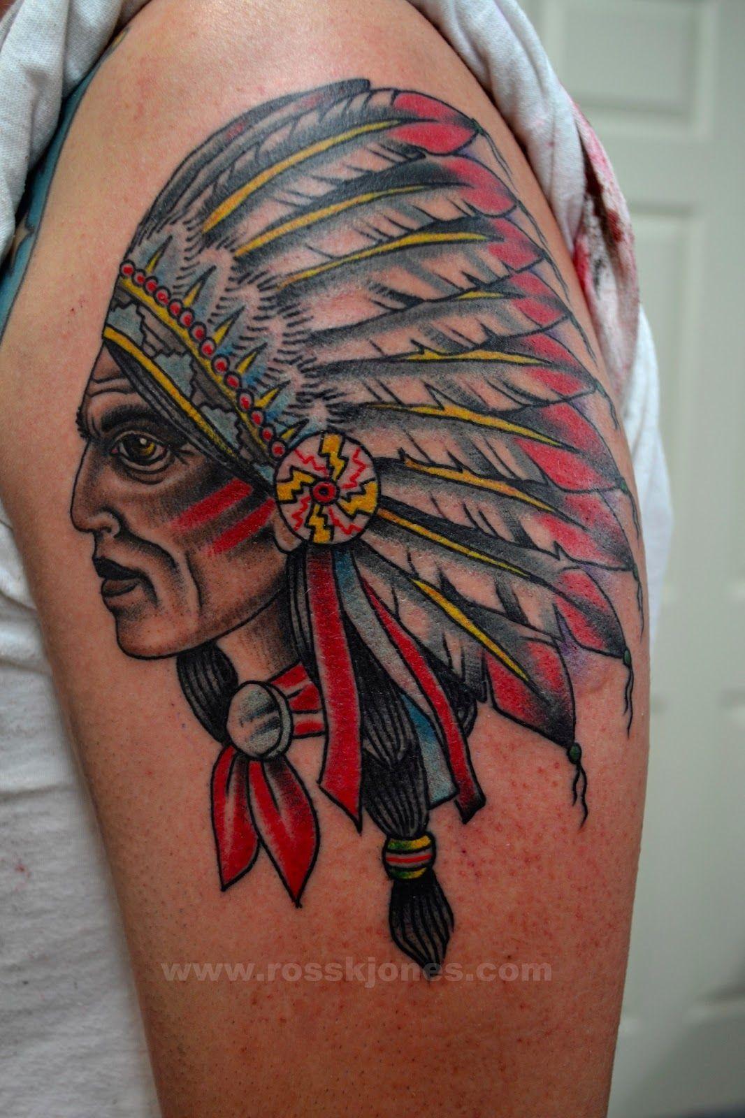 Original Indian Chief Tattoo By Ross Jones Tattoo border=