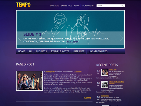 Tempo is beautiful WordPress theme for music web pages