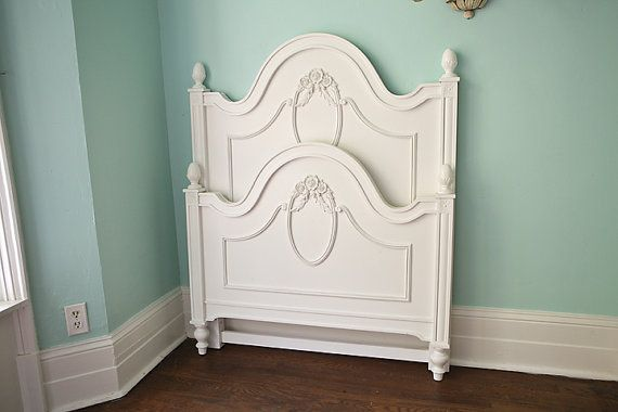 Shabby Chic Twin Bed Frame White Roses Isabella Cameo By Stanley Furniture Toddler Transition Cottage On Etsy 595 00