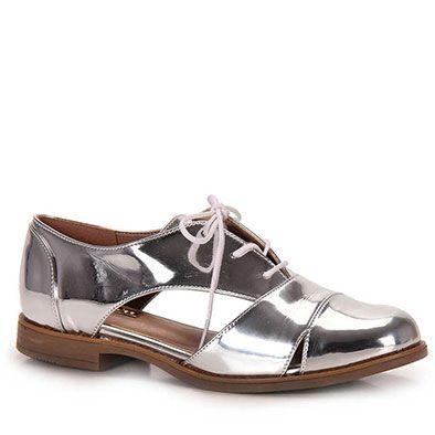 9c32e888c Sapato Oxford Feminino Brenda Lee - Prata - Escolha seu tamanho | Passarela