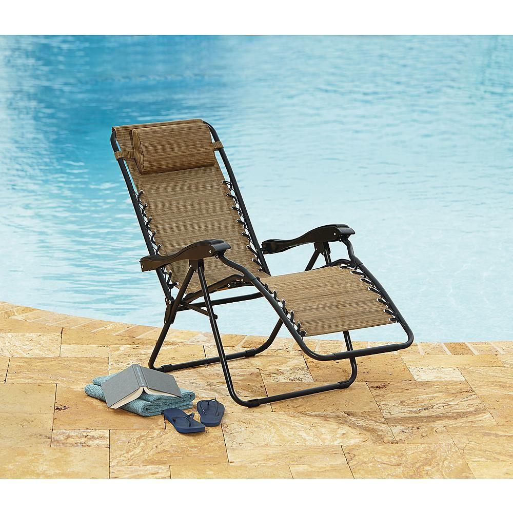 Jaclyn Smith Channeled Cushion Folding Chair   Outdoor Living   Patio  Furniture   Chaise Lounge Chairs