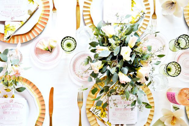 tablescape at a floral focused bridal shower   domino.com