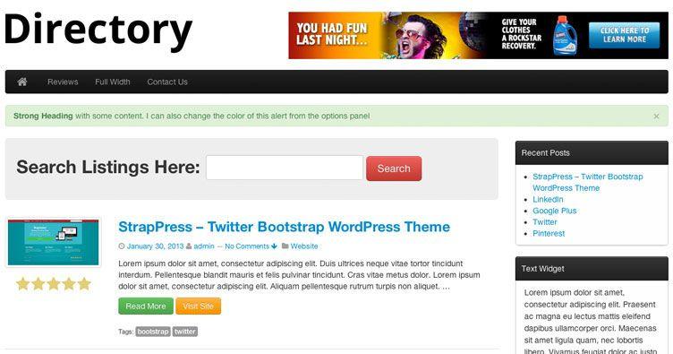 Twitter Bootstrap Directory Premium WordPress Theme #wordpress ...