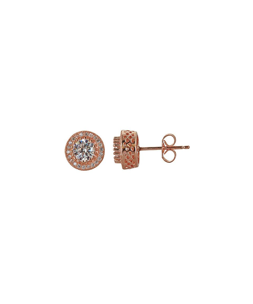 This Cubic Zirconia & Rose Gold Micropavé Stud Earrings by Yellow Gold, Inc. is perfect! #zulilyfinds