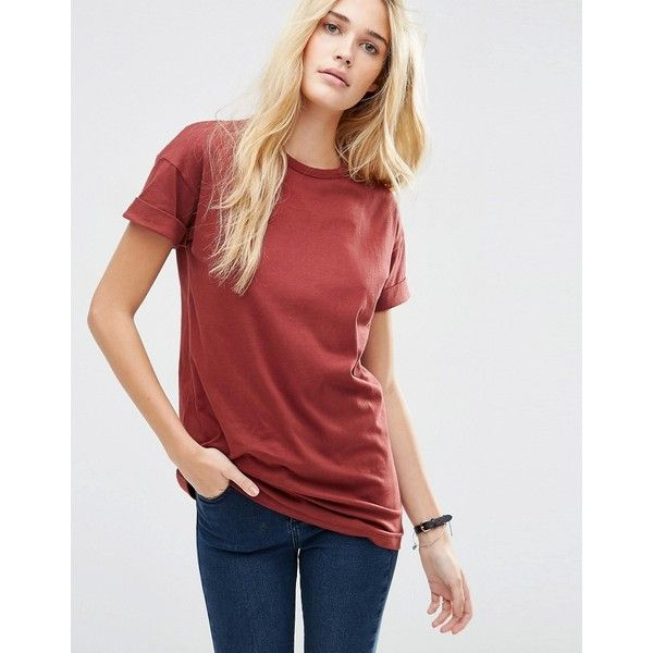 02d90eb3 ASOS The Ultimate Easy Longline T-Shirt ($20) ❤ liked on Polyvore featuring  tops, t-shirts, auburn, red t shirt, long line tee, cotton t shirts, asos  and ...