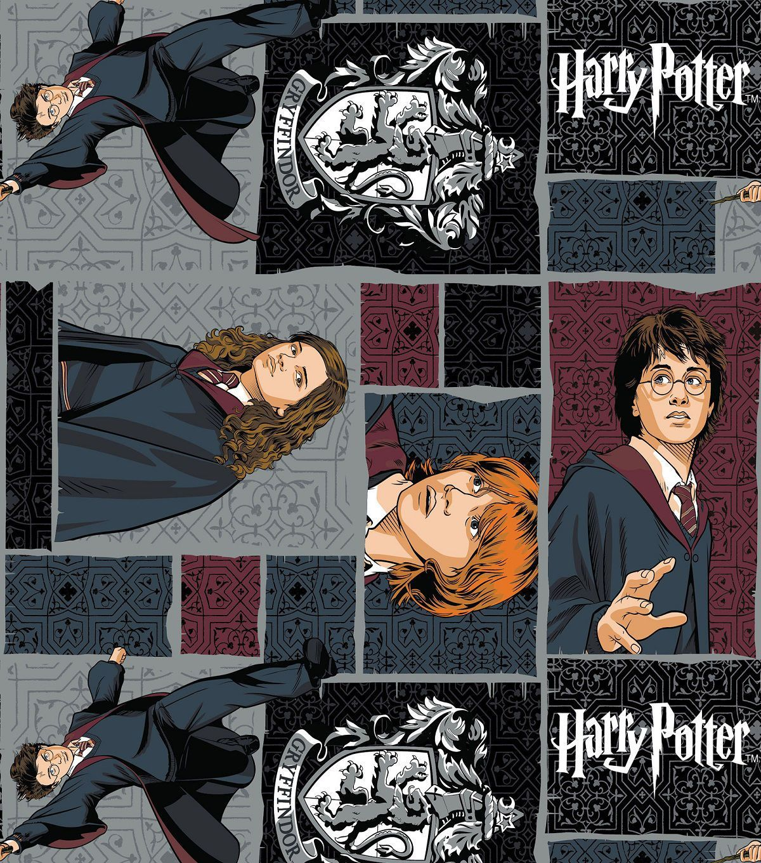 Harry Potter Comic Character Block Cotton Fabric