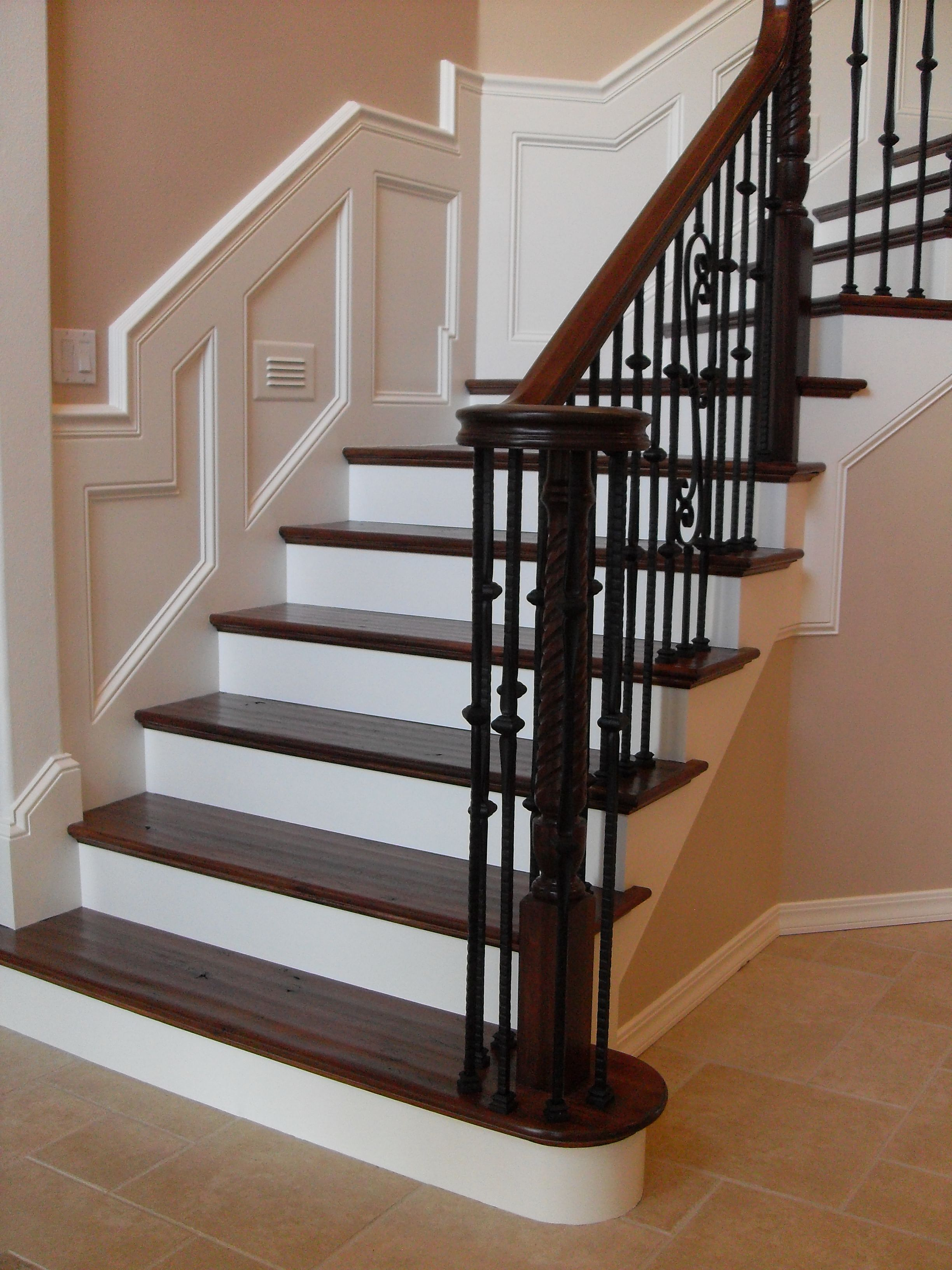 Best Hand Scraped Treads With Wrought Iron Balusters Stair 400 x 300