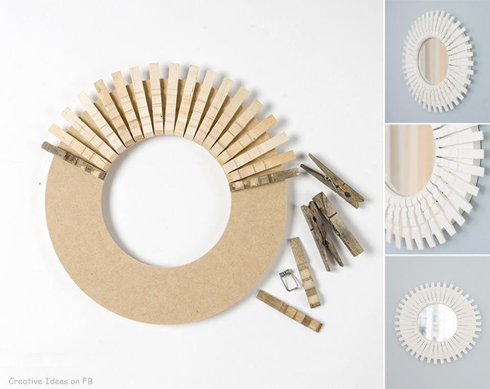 pour recycler un miroir sans cadre et des pinces linge qu 39 on utilise plus super simple non. Black Bedroom Furniture Sets. Home Design Ideas