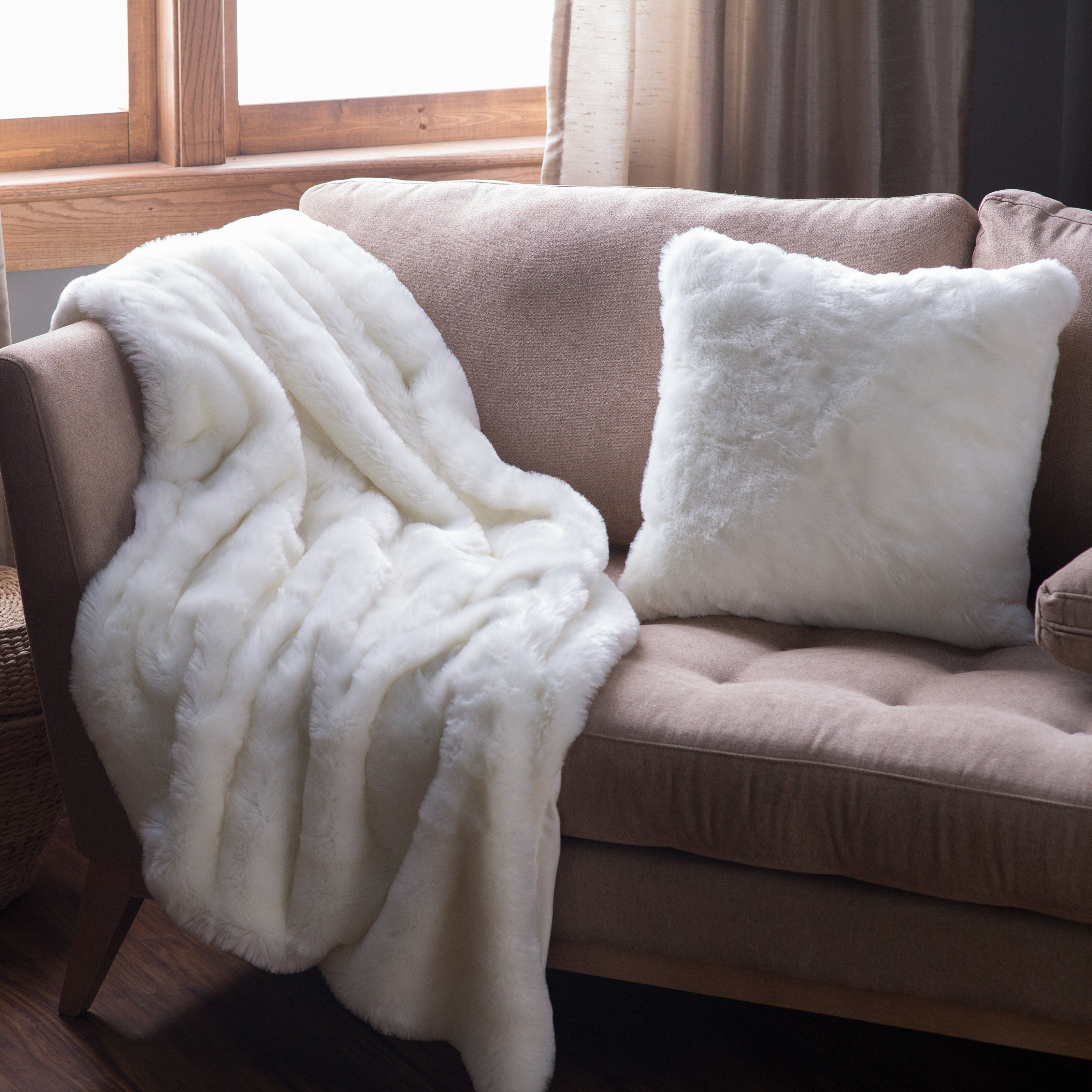 Solid Off White Faux Fur Throw Www Hayneedle Com Couch Throw Blanket Cozy Living Rooms Sofa Throw