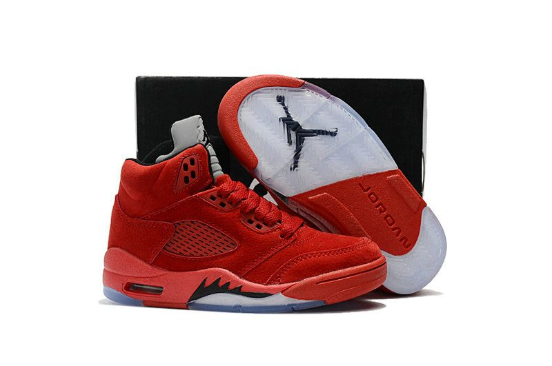 new arrival a0efa f93e2 Kids Air Jordan 5 Red Suede University Red Black-University Red 136027-602