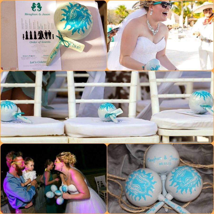 in love with this beautiful #maracas painted for Meaghan & Jason´s #wedding Love #seahorses design