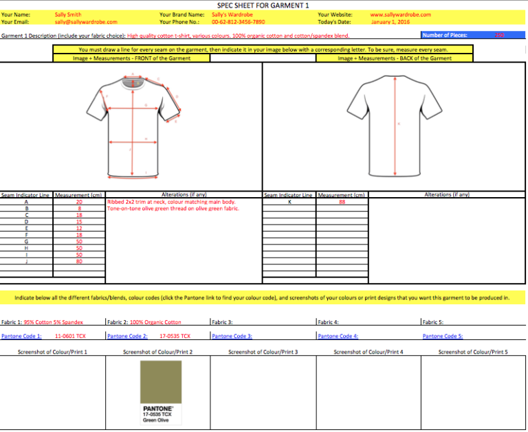 Clothing Manufacturing Agent Spec Sheets Example Sample