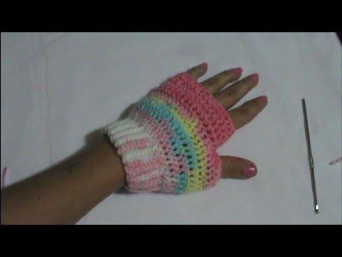 ▷ Guante sin Dedos En Crochet - YouTube   tejido   Pinterest ...