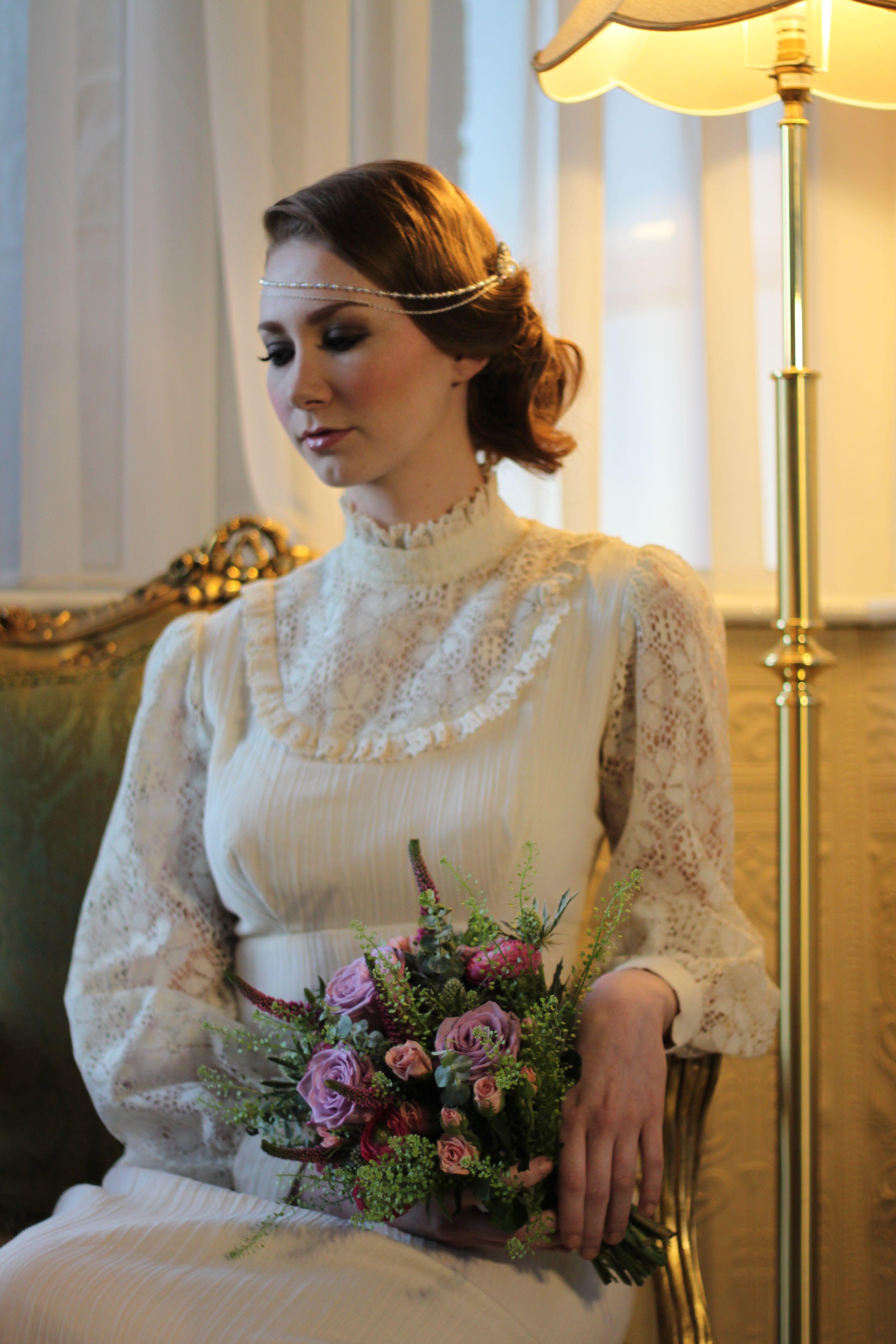 1970s edwardian style high neck lace vintage wedding dress