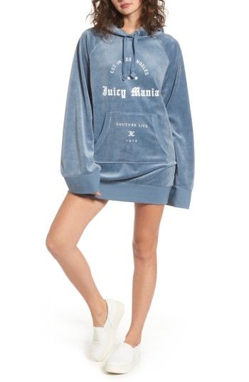JUICY COUTURE WOMEN S JUICY COUTURE JUICY MANIA OVERSIZE VELOUR HOODIE  DRESS.  juicycouture  cloth   ee37515f4