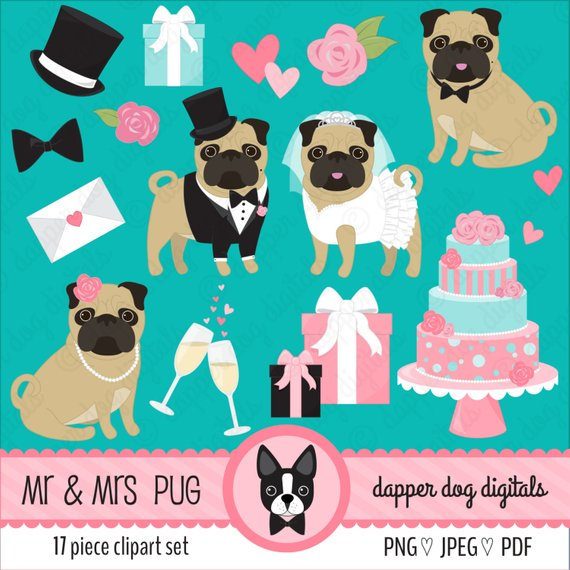 Pug Clipart Wedding Set Bride And Groom Pack Commercial Use