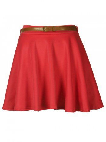 df3f56dd6 KarmaClothing Coral Ponte Belted Pleat Skater Skirt   Plus Size ...