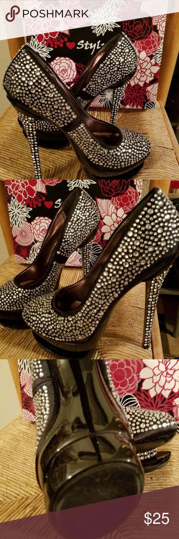 Ladies Embellished With Rhinestones All Over Nwt Heels Womens High Heels Black High Heels