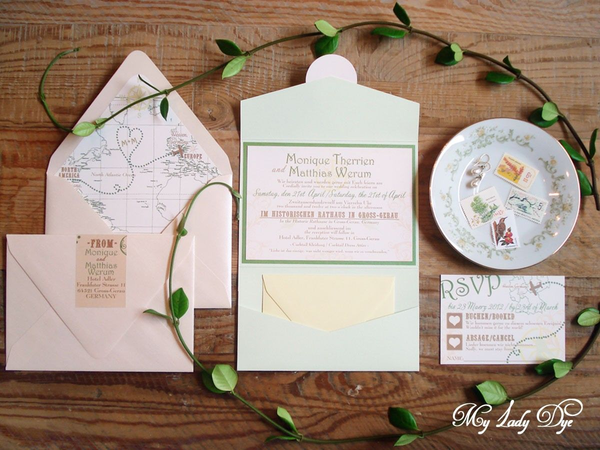 This is a super cute and fun wedding invitation with a playful color ...