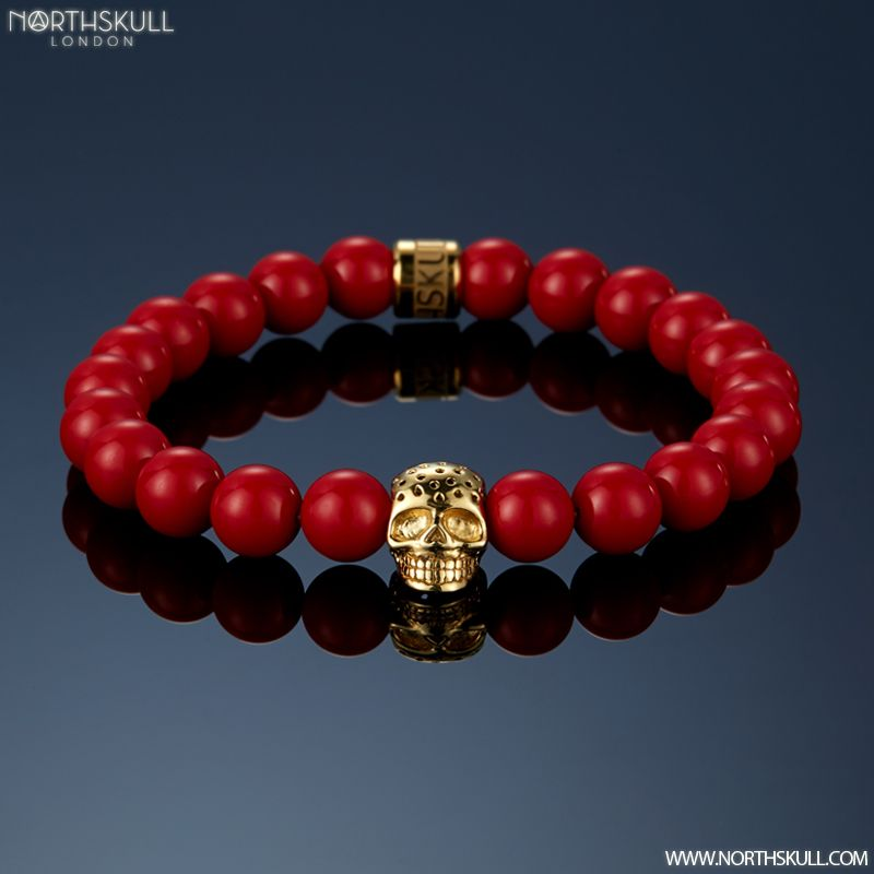 New Colorway Release ! | Our NEW Red Coral & Perforated Gold Skull Bracelet…