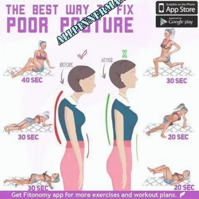 6 ÜBUNGEN ZUR REVERSE BAD POSTURE! – fitness übungen – #BAD #Fitness #POSTURE | Flexibility workout,...