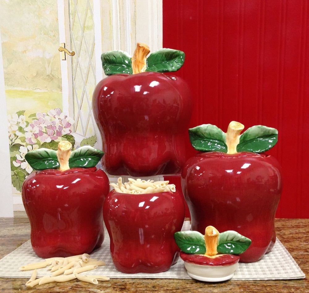 87401 3 D Tuscan Red Apple Shaped 4pc Canister Set By Ack 11 14 15 8 Ceramic Canisters Red Canister Set Kitchen Canister Sets