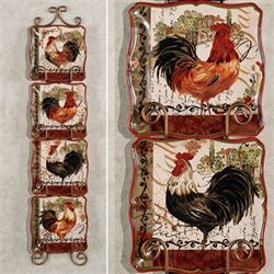 Tuscan Rooster Dessert Plate Set Cream Of Four