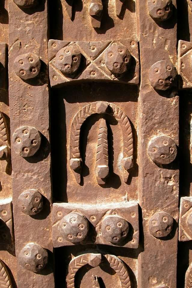 Close-up to the main gate/door of the Citadel of Aleppo - Syria