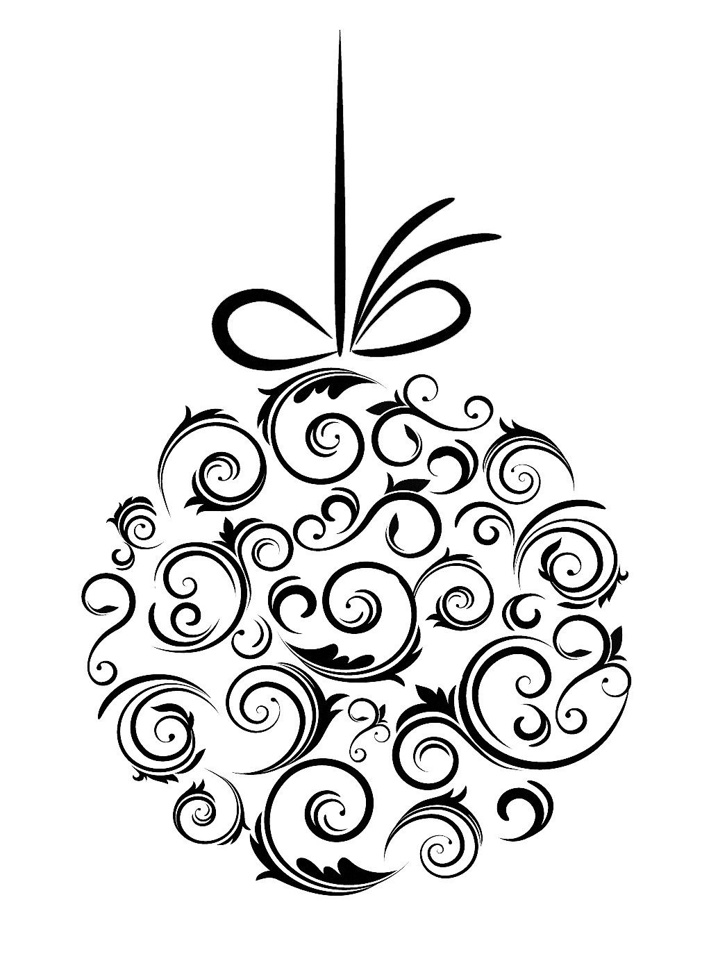 christmas decorations clipart black and white | Nice Decoration ...