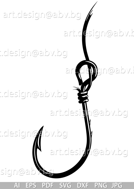 Vector Fishing Hook Ai Eps Pdf Png Svg Dxf Jpg Image Etsy Fish Hook Graphic Image Svg
