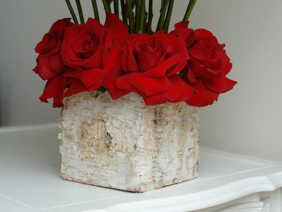 Birch Bark Vases Wood Box Square Flowers Pot Planter Rustic