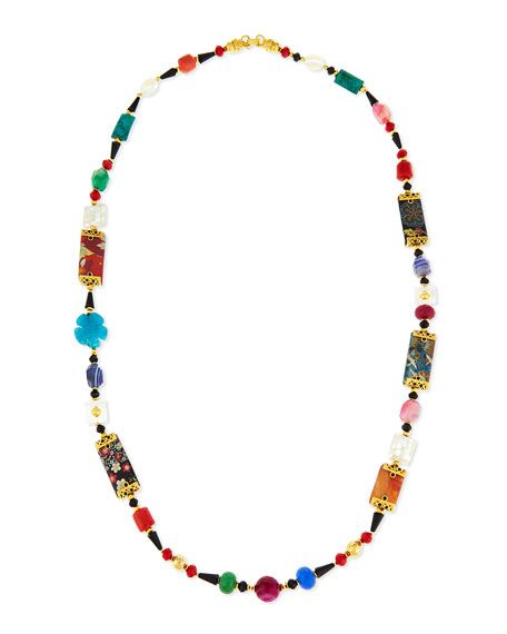 Jose & Maria Barrera Long Decoupage Necklace w/ Agate Beads QJkGOwlVSx