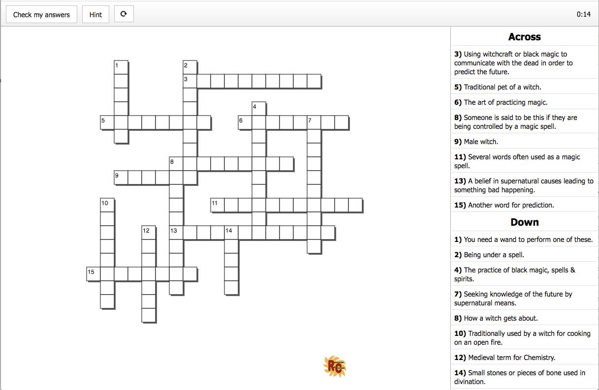 Halloween Interactive Amp Printable Crossword Puzzle 6th 8th