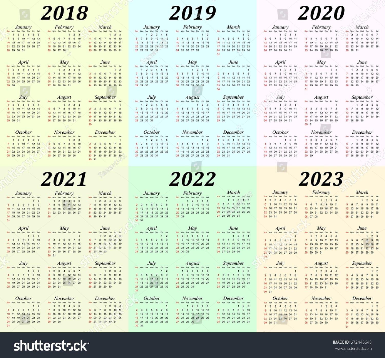5 Year Calendar 2019 To 2023 In 2020 Printable Calendar Design Calendar Printables Free Printable Calendar