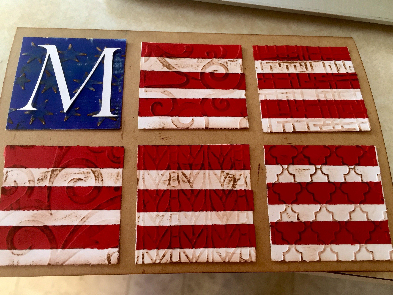 Custom initial embossed patriotic blank cards etsy in
