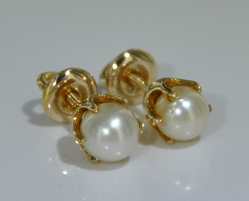 5dc1412ca 2 0 grams 14k Yellow Gold Pearl 6 Prong Screw Back Studs Earrings | eBay