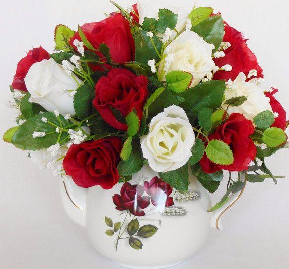 Teapot Silk Flower Arrangement Deep Red & by BeautyEverlasting