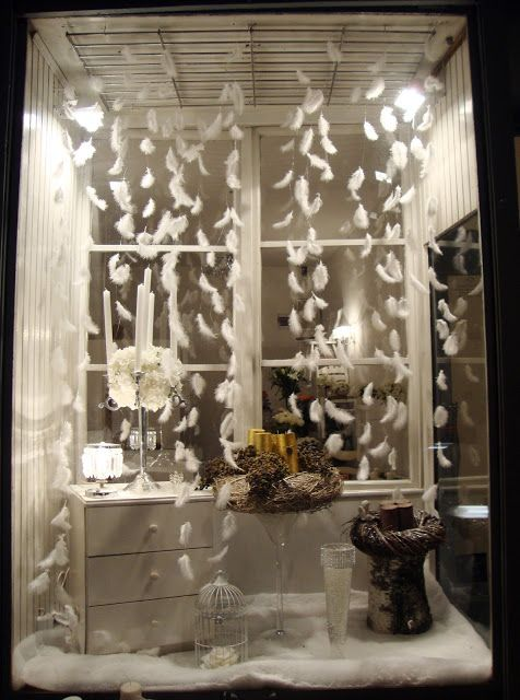 Feathers for snow. Day 332. Winter window display ...