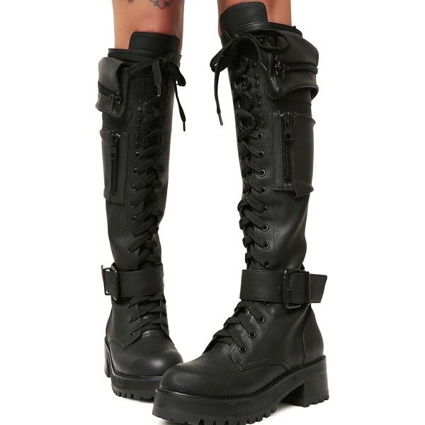 cd8f9b7a523 Current Mood Pocket Knee High Combat Boots ($110) ❤ liked on ...