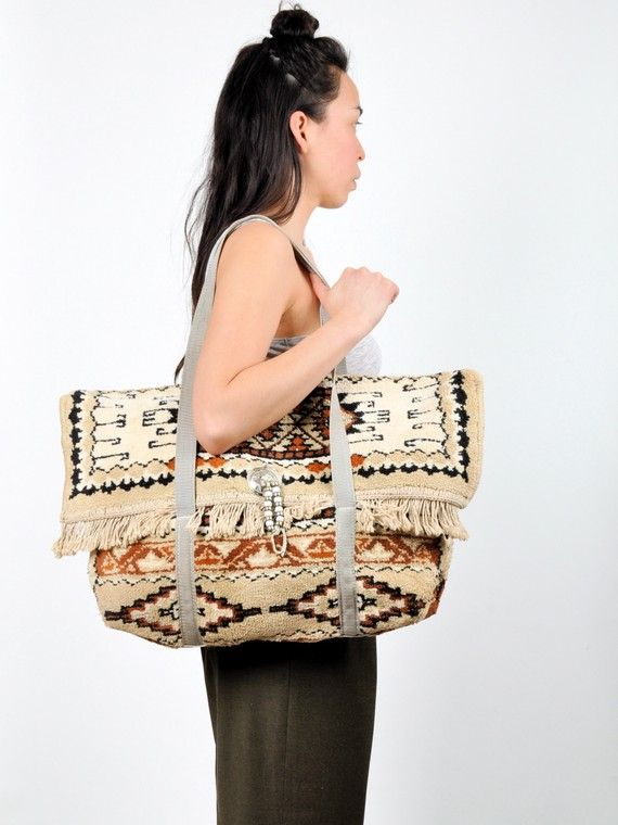 vintage HUGE SOUTHWESTERN carpet tote bag