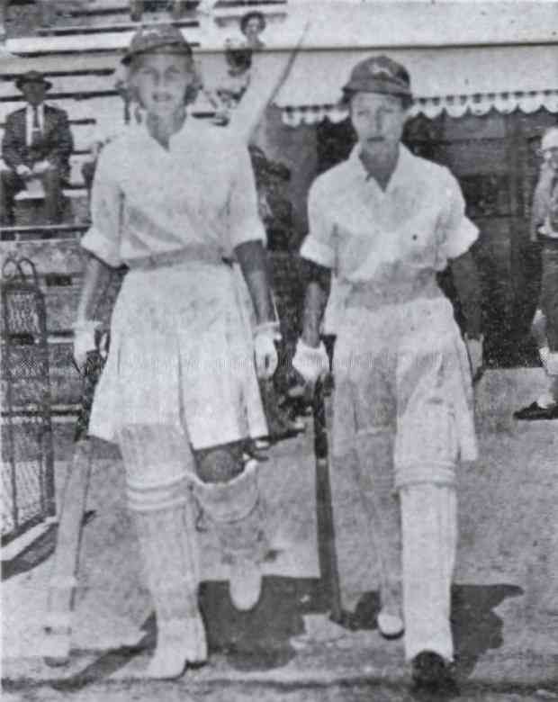 St George's Park - England Tours South Africa - 1960.  The Springbok openers, Eleanor Lambert and Joy Irwin (right), walk out to open the innings of the first women's cricket Test match ever to be played in South Africa. The match was being played between England and South Africa on the Port Elizabeth Cricket Club ground.