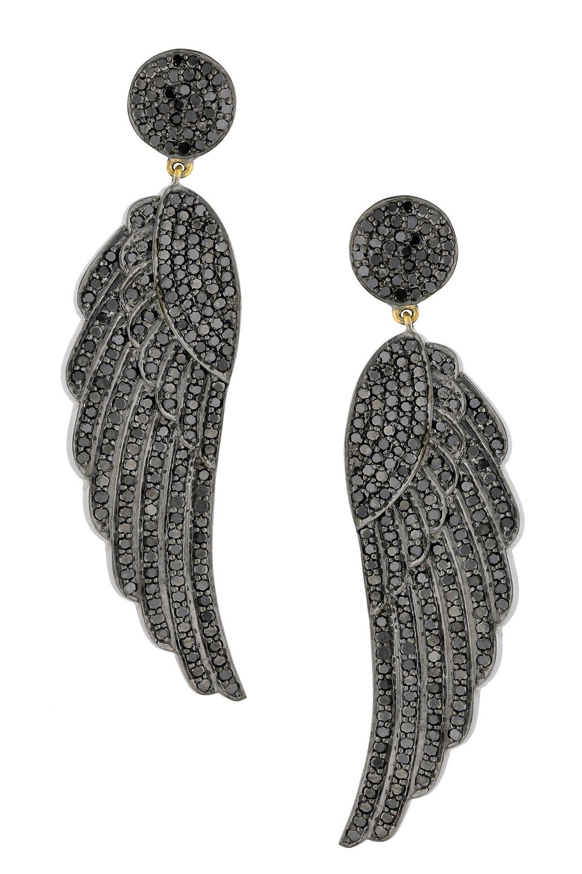 Pave Diamond Wing Drop Earrings - 5.81 ctw