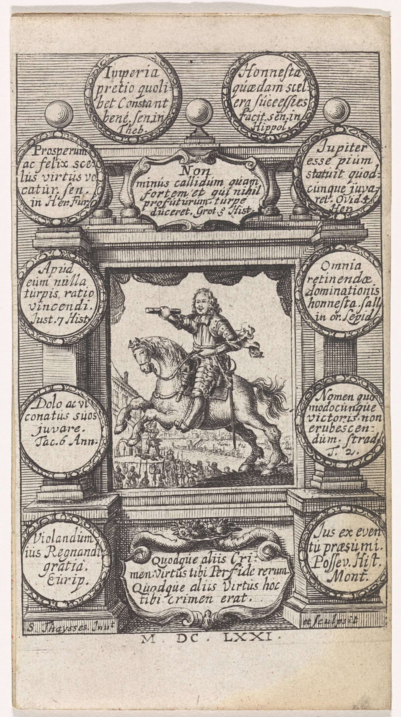 S. Thaysses | Oliver Cromwell te paard, S. Thaysses, 1671 | Oliver Cromwell als bevelhebber te paard met op de achtergrond de onthoofding van Karel I van Engeland. De voorstelling is gevat in een kader met boven en onder cartouches met teksten in het Latijn. Langs de zijkanten van het kader tien cirkels met daarbinnen teksten in het Latijn.