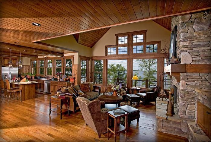 perfect balance of wood and drywall log cabin - Log Cabin Living Room