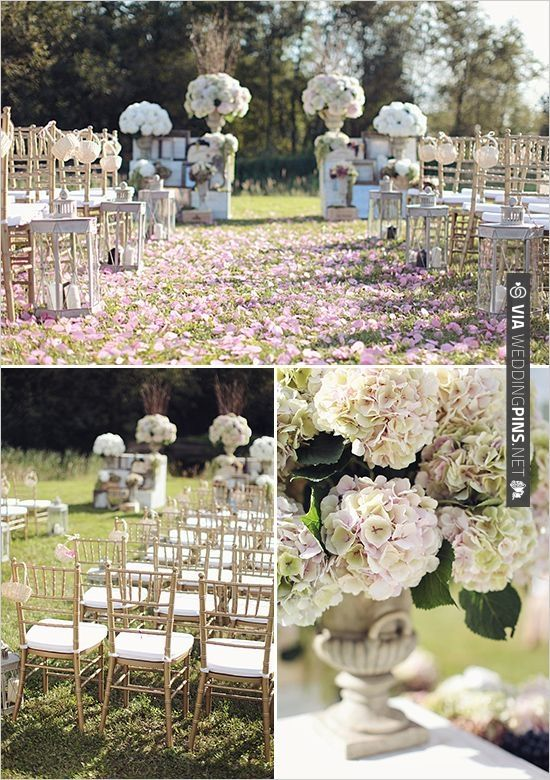 Outdoor Wedding Ceremony Ideas With Gold Chiavari Chairs And Tons Of Hydrangeas Wedding Ceremony Decorations Outdoor Outdoor Wedding Ceremony Wedding Ceremony