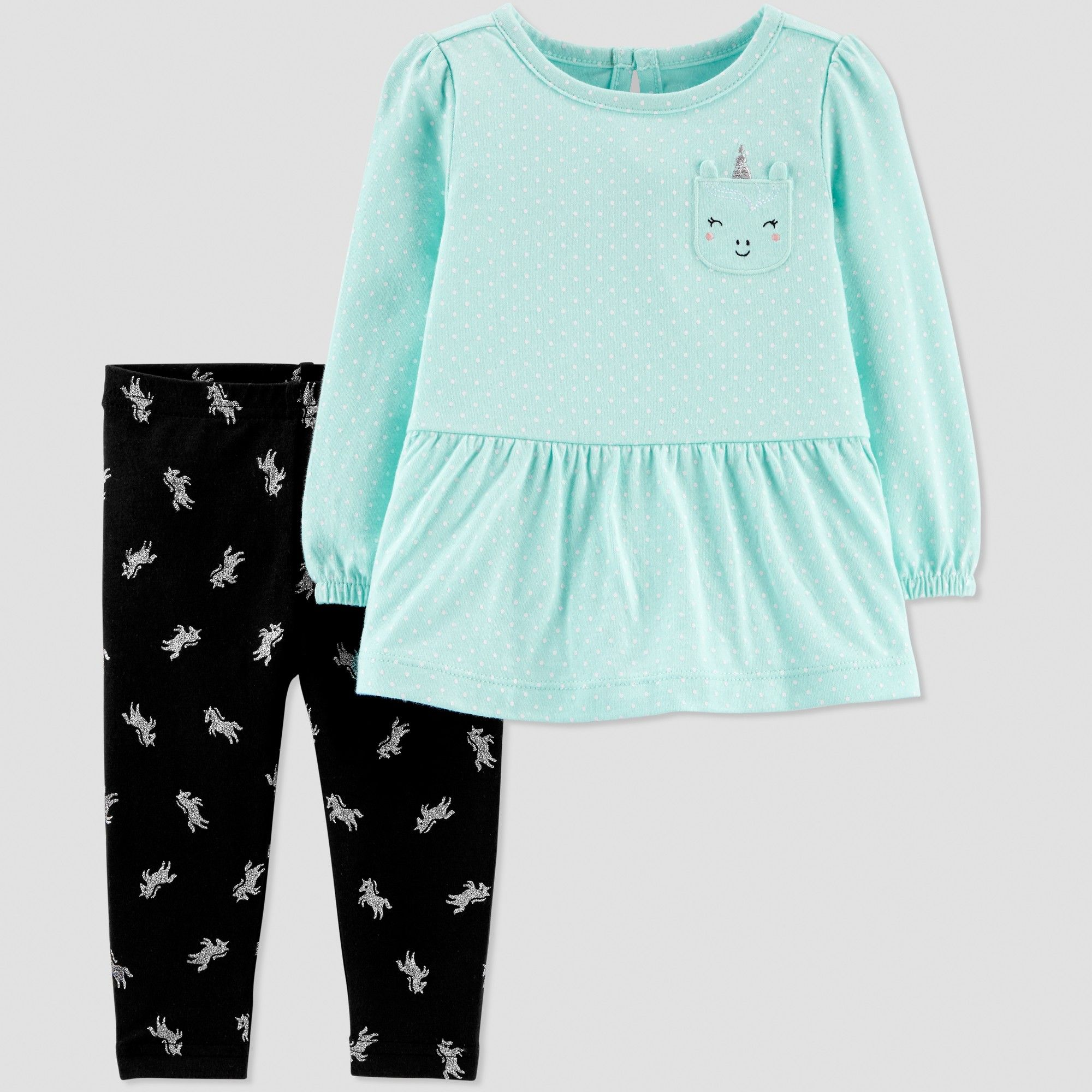 45a792bca78 Baby Girls  2pc Unicorn Pant Set - Just One You made by carter s Mint  Blue Black 6M