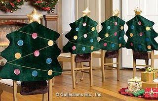 capa de cadeira para o Natal -  arvore de natal