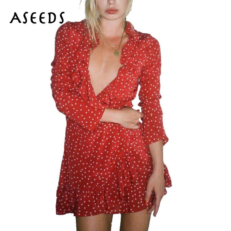fe6992a740515 Summer star print chiffon dress women sexy v neck ruffle Vintage ...