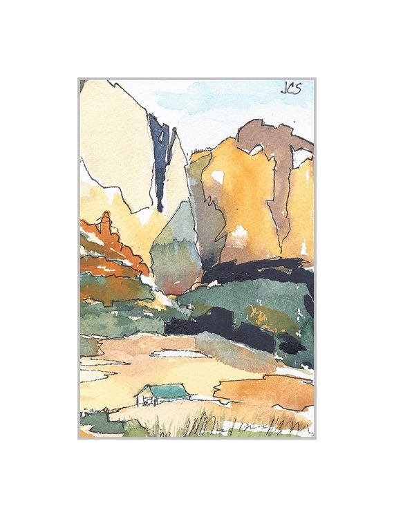 Watercolor Painting Southwest Landscape Watercolor And Ink